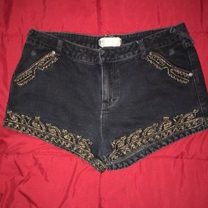 Free People Embroidered Black Jean Shorts